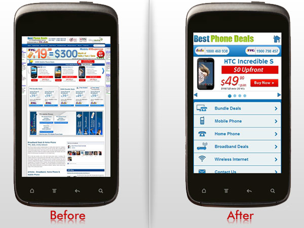Mobile site before and after